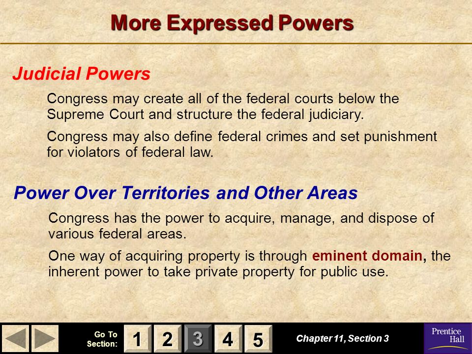 More Expressed Powers 1 2 4 5 Judicial Powers