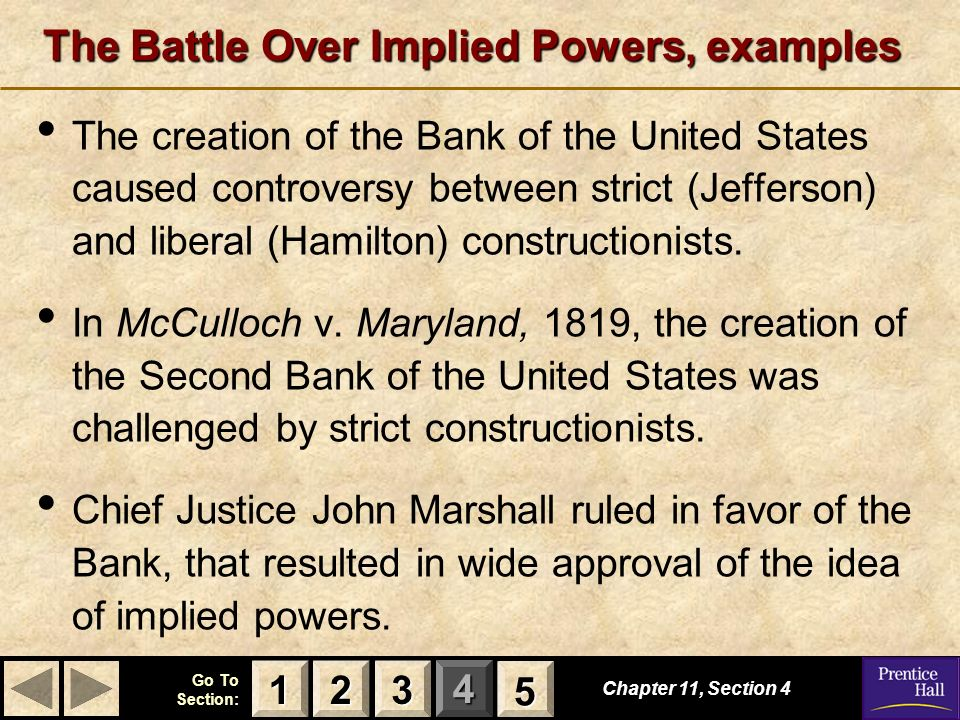 The Battle Over Implied Powers, examples