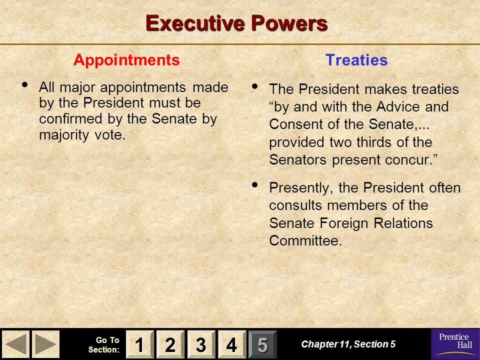 Executive Powers 1 2 3 4 Treaties Appointments