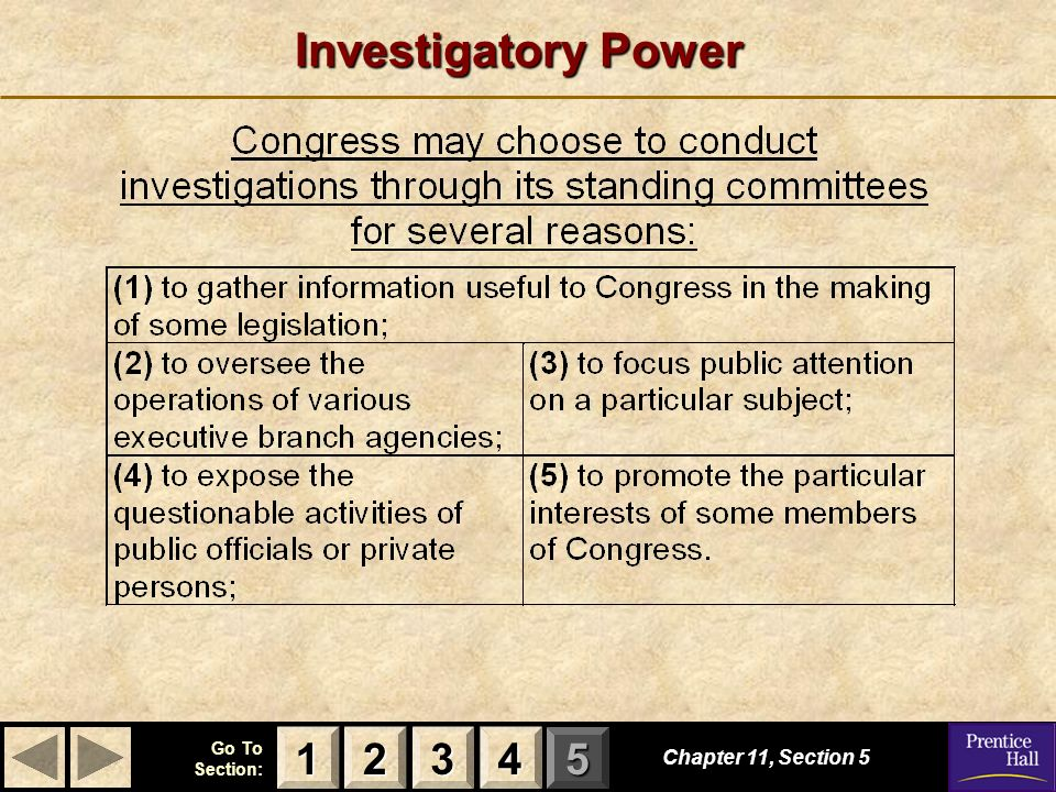 Investigatory Power 1 2 3 4 Chapter 11, Section 5