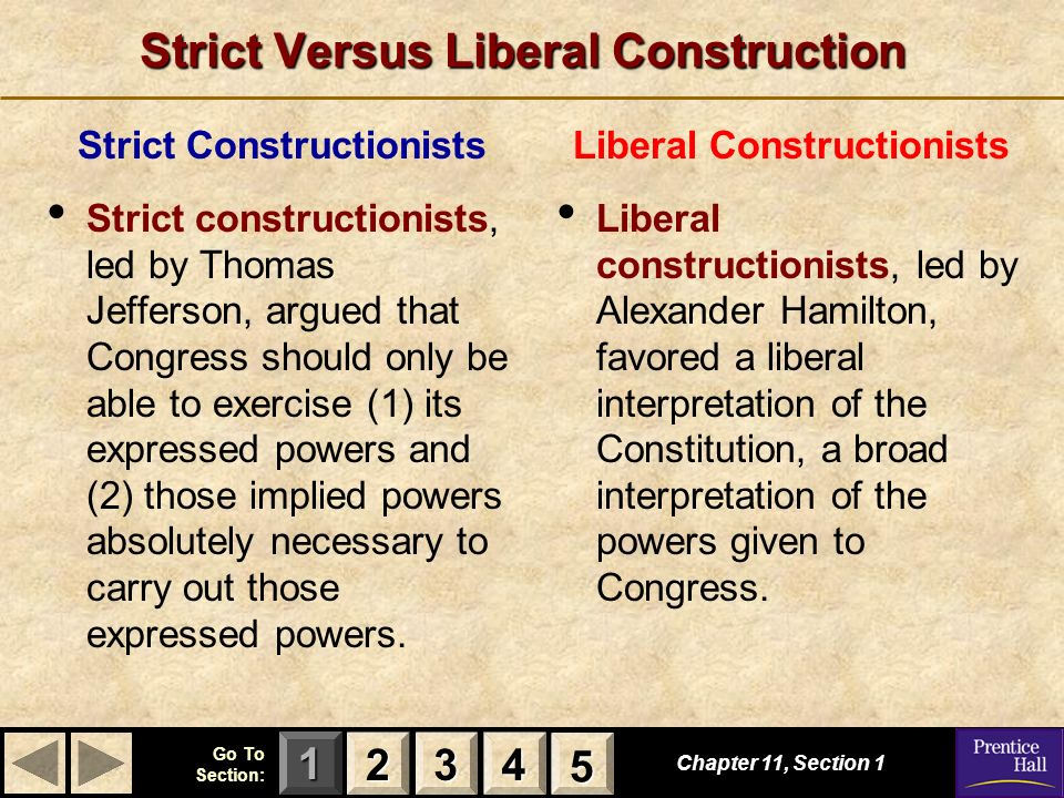 Strict Versus Liberal Construction