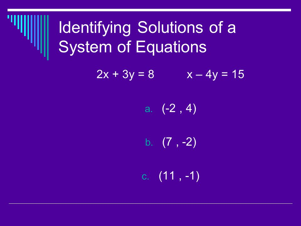Identifying Solutions of a System of Equations