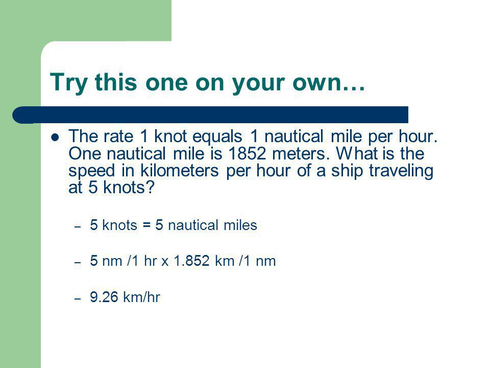 how to find speed in knots using nauticle miles