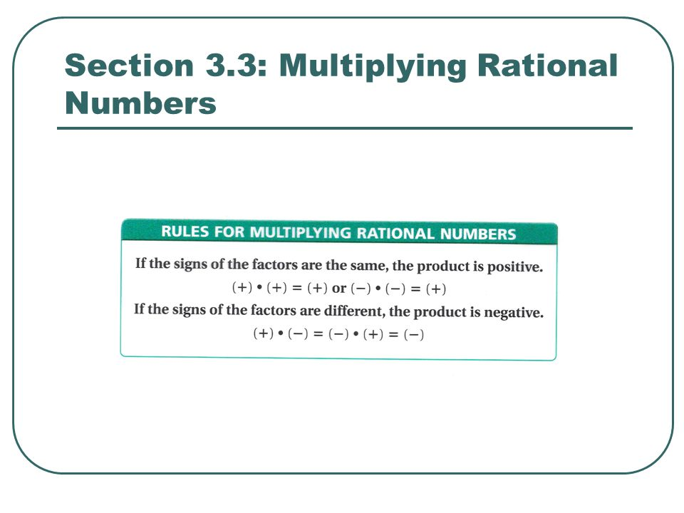Section 3.3: Multiplying Rational Numbers