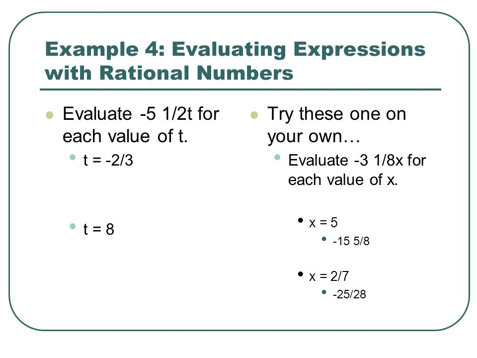 Example 4: Evaluating Expressions with Rational Numbers