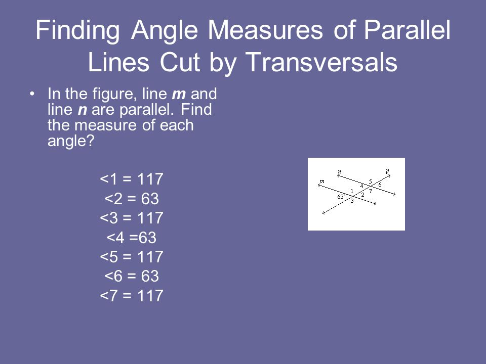 Finding Angle Measures of Parallel Lines Cut by Transversals
