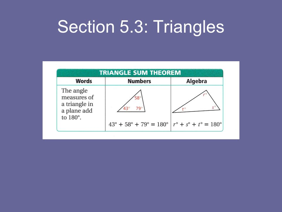 Section 5.3: Triangles
