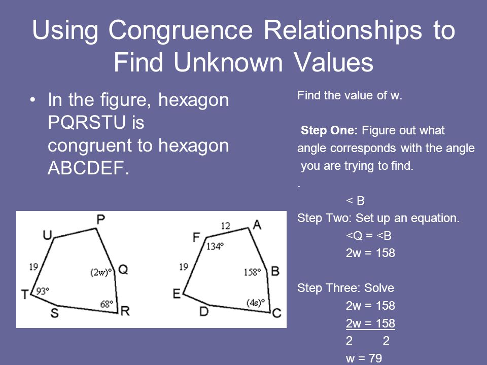 Using Congruence Relationships to Find Unknown Values