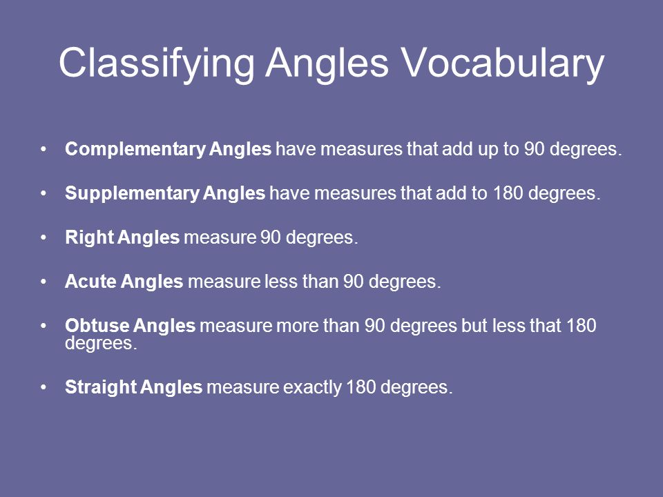 Classifying Angles Vocabulary