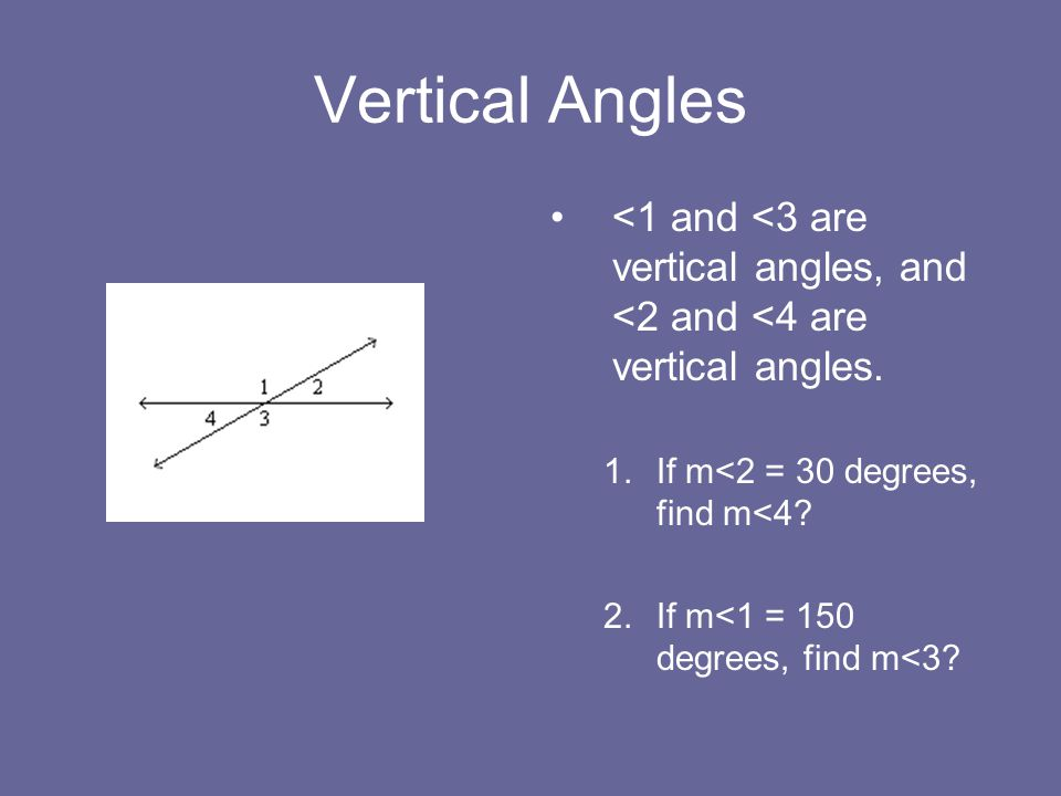 Vertical Angles <1 and <3 are vertical angles, and <2 and <4 are vertical angles. If m<2 = 30 degrees, find m<4