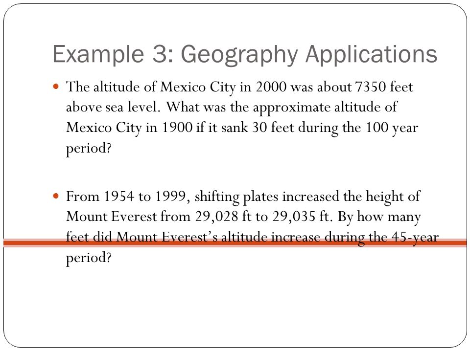 Example 3: Geography Applications