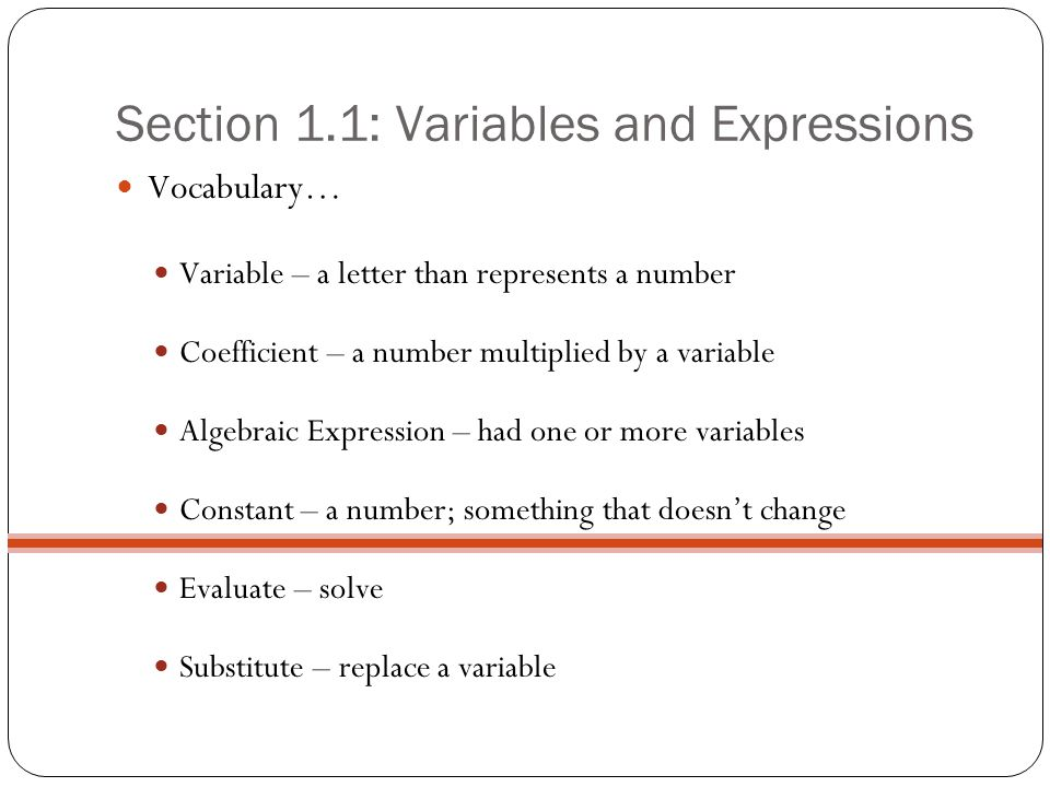 Section 1.1: Variables and Expressions