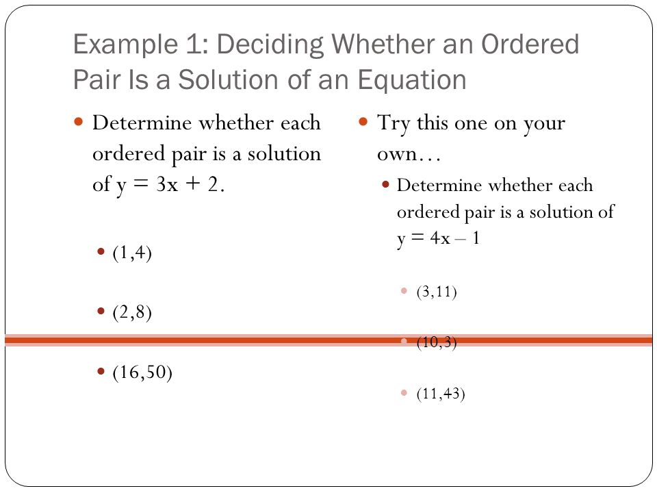 Example 1: Deciding Whether an Ordered Pair Is a Solution of an Equation