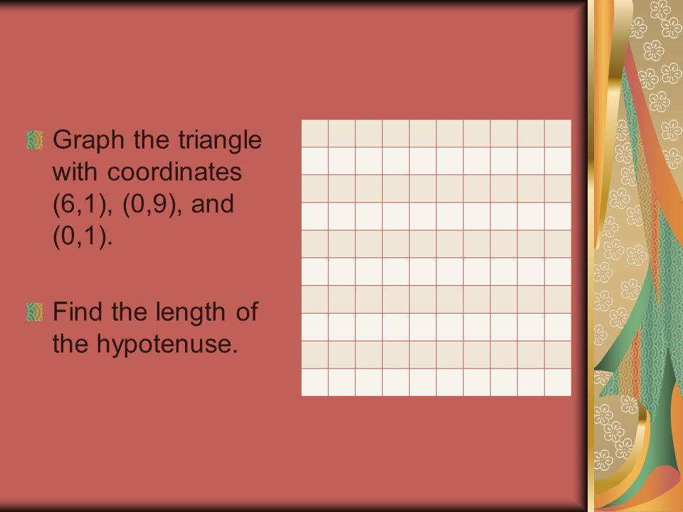 Graph the triangle with coordinates (6,1), (0,9), and (0,1).
