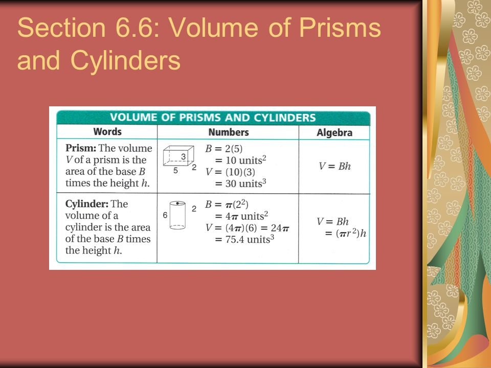 Section 6.6: Volume of Prisms and Cylinders