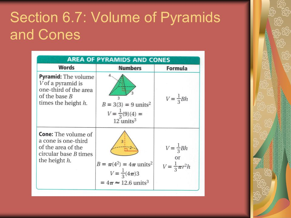 Section 6.7: Volume of Pyramids and Cones