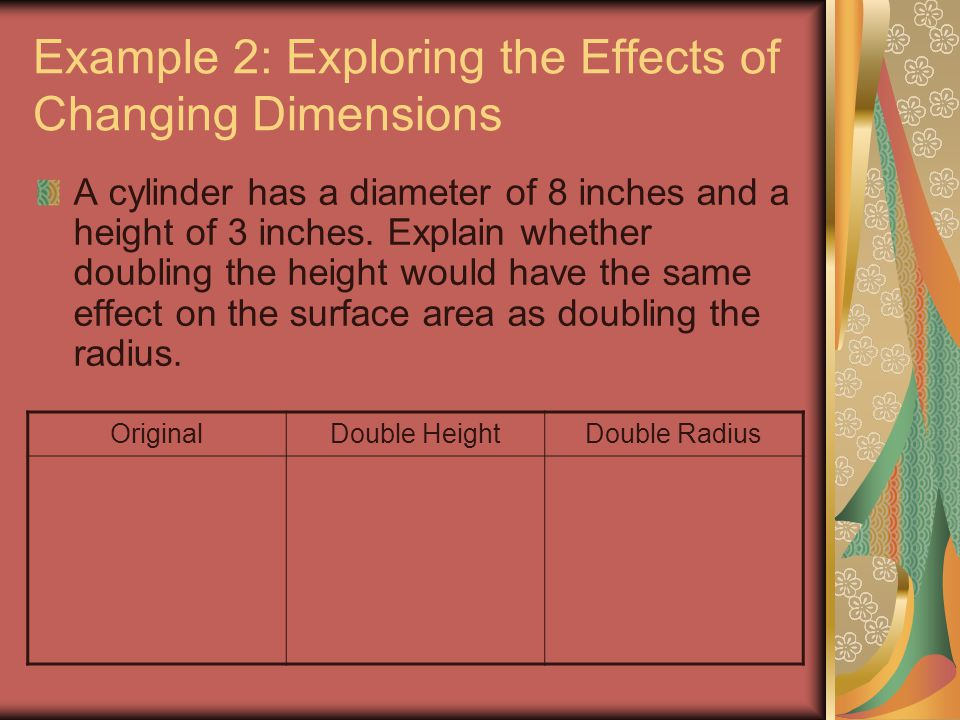 Example 2: Exploring the Effects of Changing Dimensions