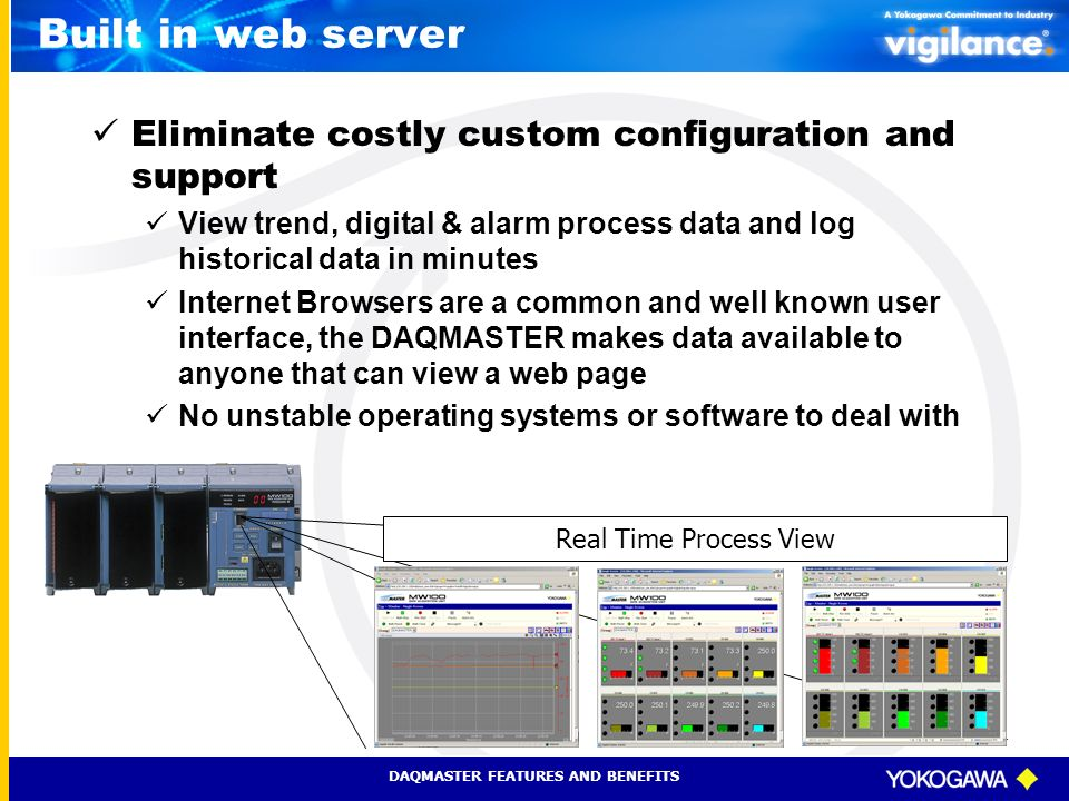 Built in web server Eliminate costly custom configuration and support