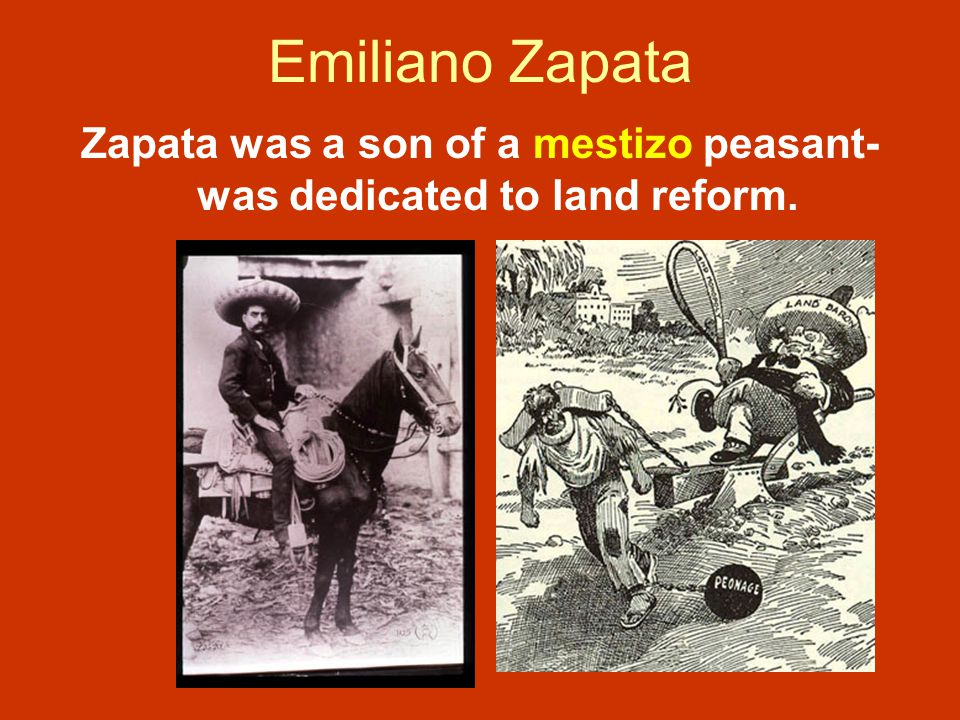 Zapata was a son of a mestizo peasant- was dedicated to land reform.