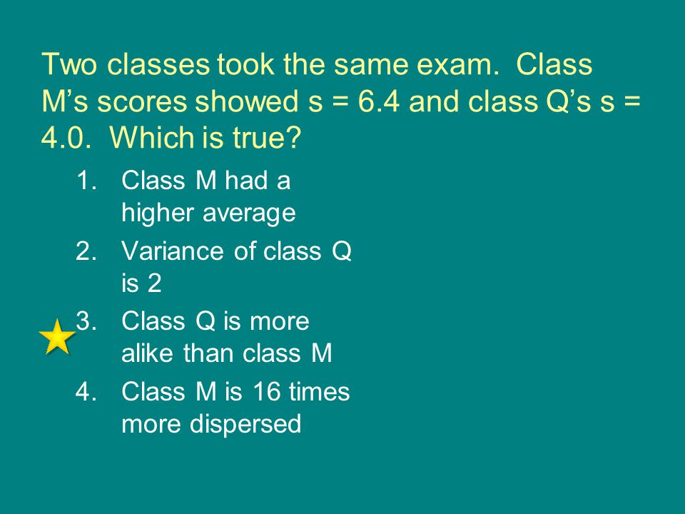Two classes took the same exam. Class M's scores showed s = 6