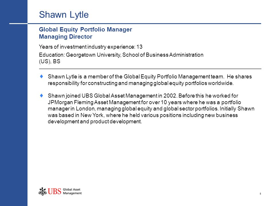 Shawn Lytle Global Equity Portfolio Manager Managing Director
