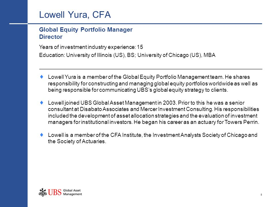 Lowell Yura, CFA Global Equity Portfolio Manager Director
