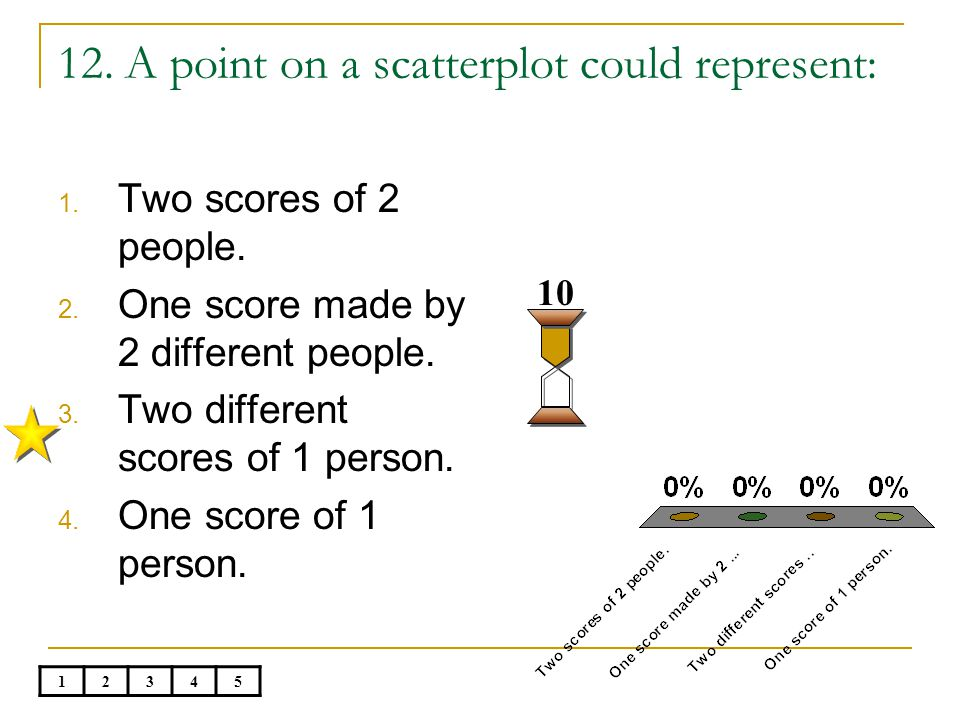 12. A point on a scatterplot could represent: