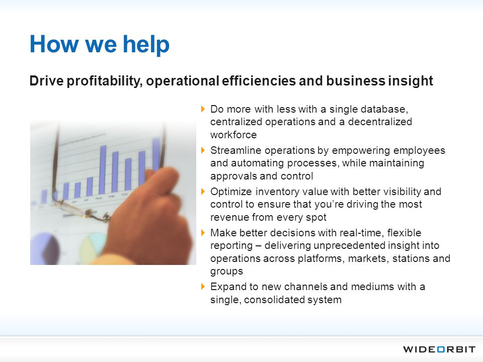 How we help Drive profitability, operational efficiencies and business insight.