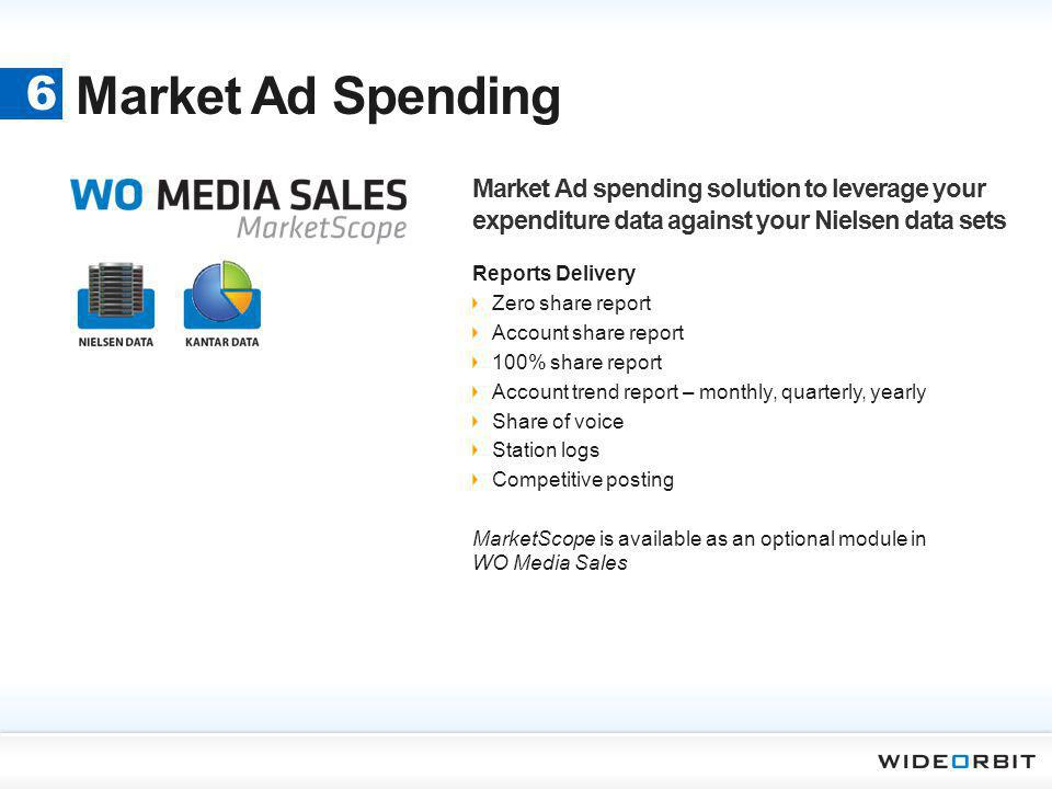 Market Ad Spending 6. Market Ad spending solution to leverage your expenditure data against your Nielsen data sets.