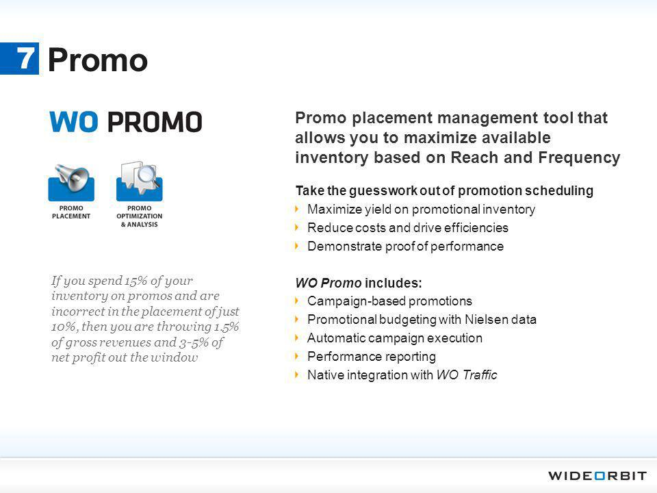 Promo 7. Promo placement management tool that allows you to maximize available inventory based on Reach and Frequency.