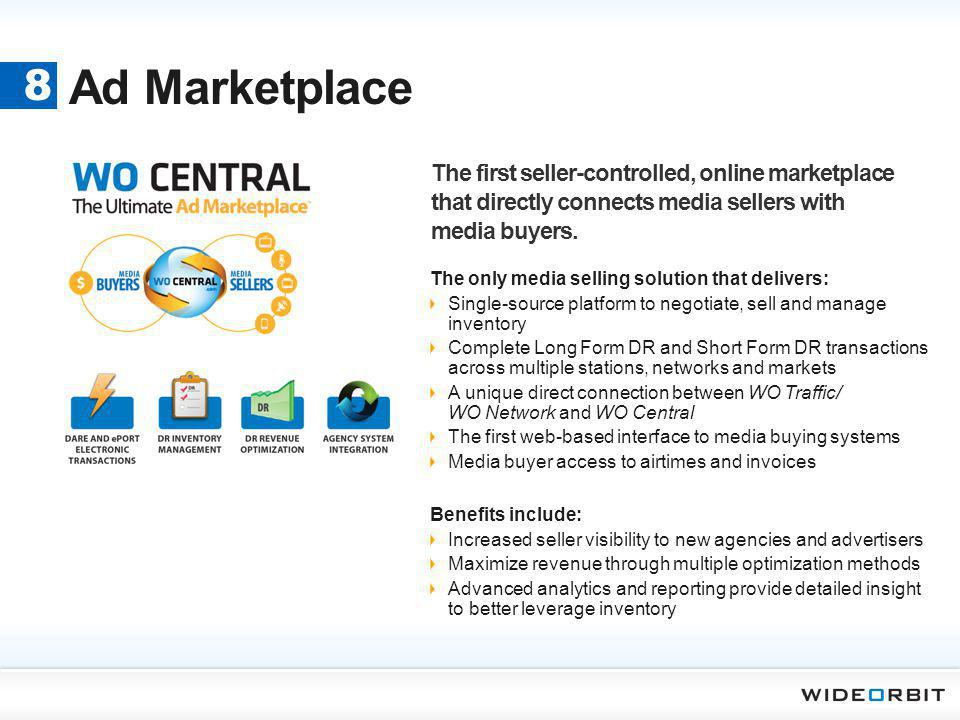 Ad Marketplace 8. The first seller-controlled, online marketplace that directly connects media sellers with media buyers.