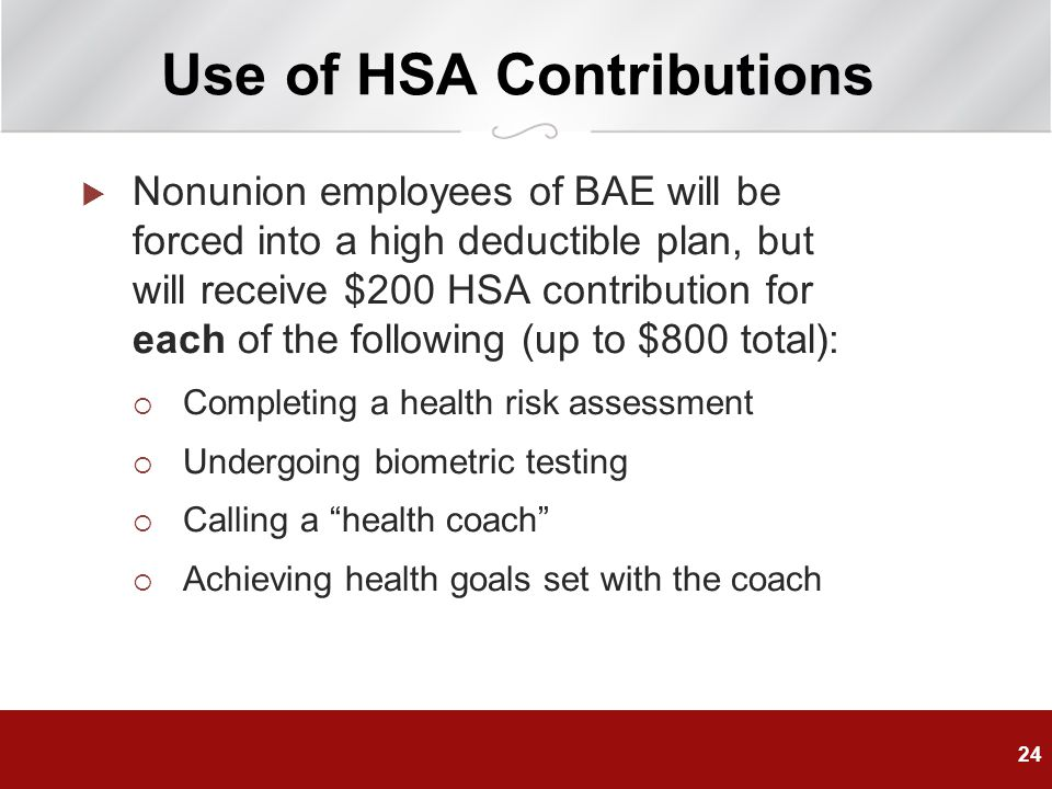 Use of HSA Contributions