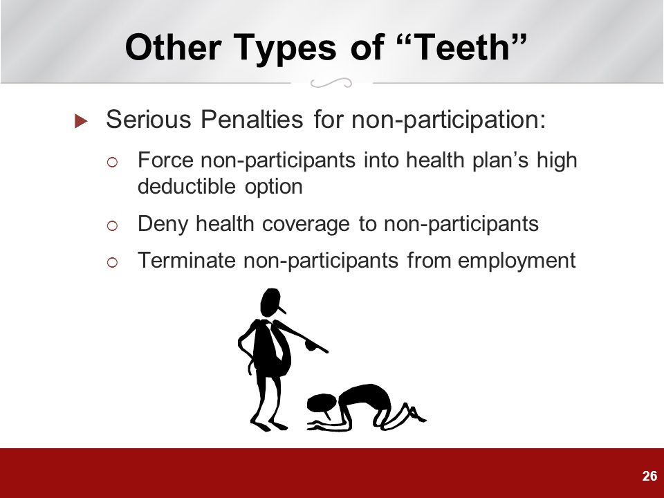 Other Types of Teeth Serious Penalties for non-participation: