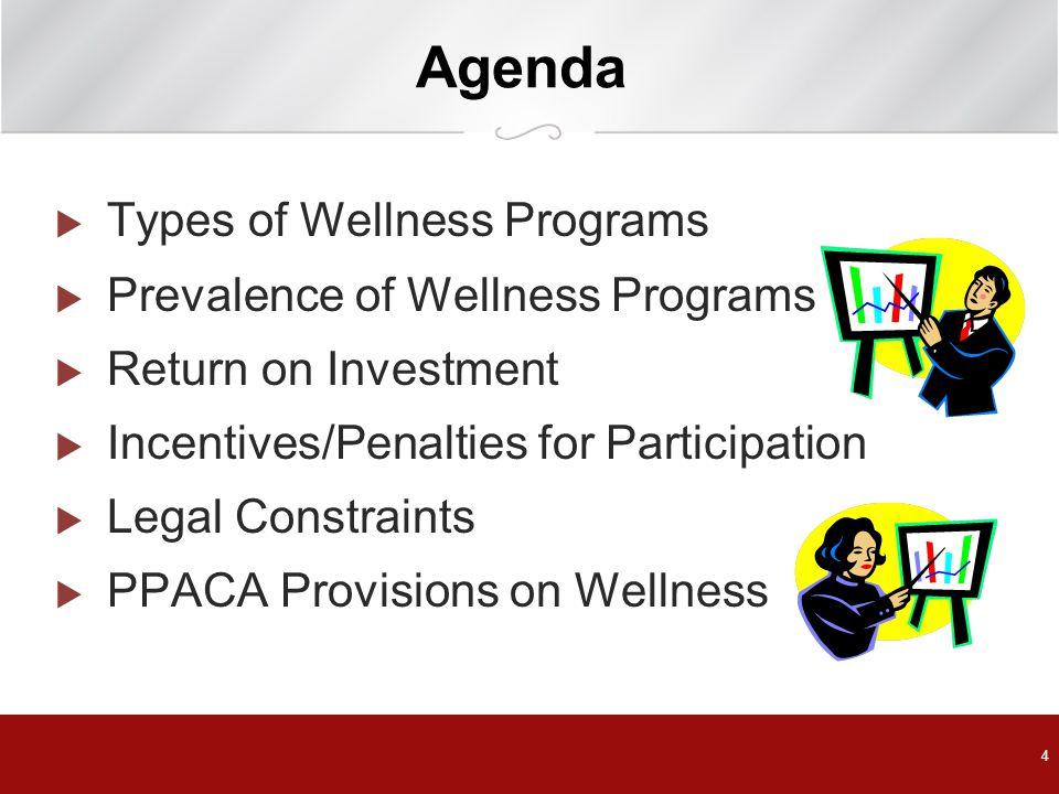 Agenda Types of Wellness Programs Prevalence of Wellness Programs