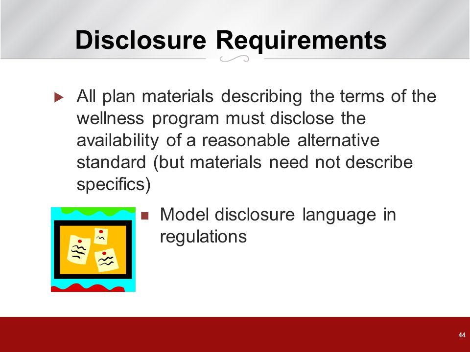 Disclosure Requirements
