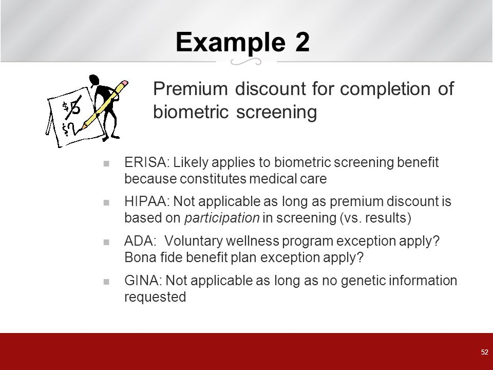 Example 2 Premium discount for completion of biometric screening