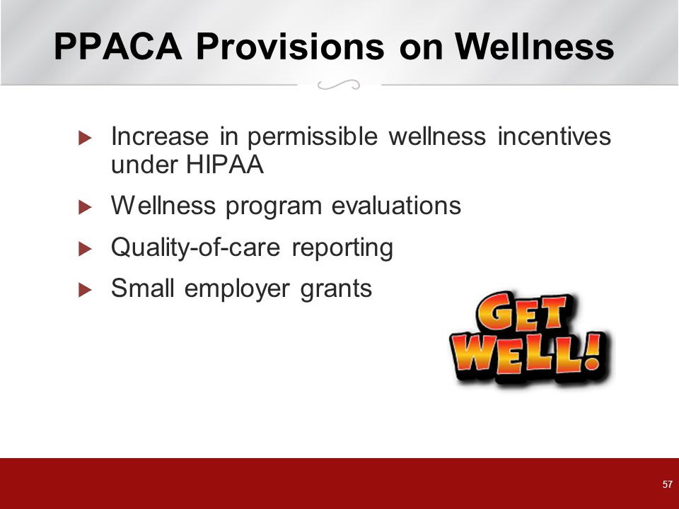PPACA Provisions on Wellness