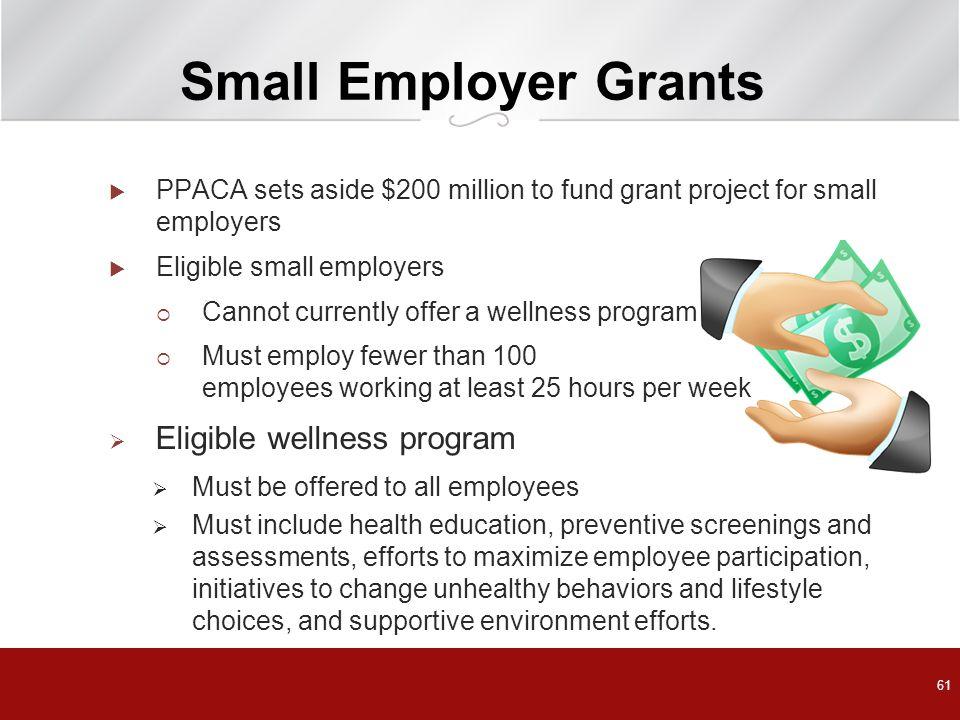 Small Employer Grants Eligible wellness program