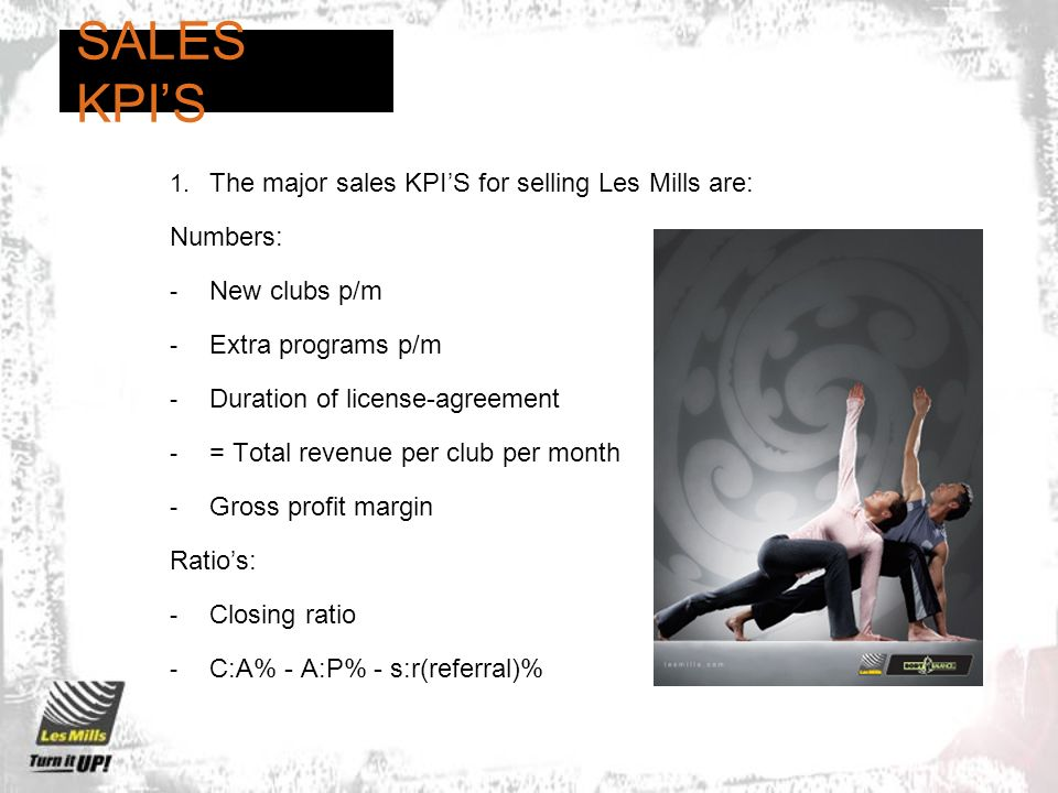 SALES KPI'S The major sales KPI'S for selling Les Mills are: Numbers: