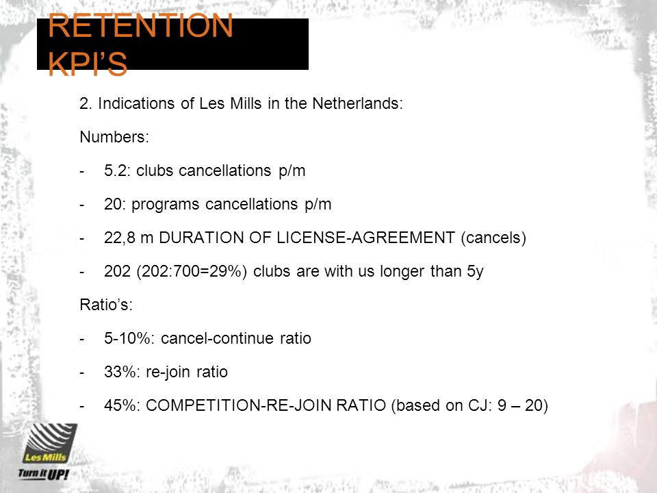 RETENTION KPI'S 2. Indications of Les Mills in the Netherlands: