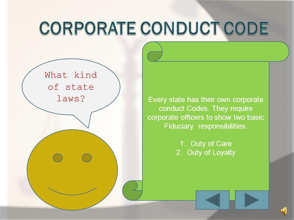 Corporate conduct code