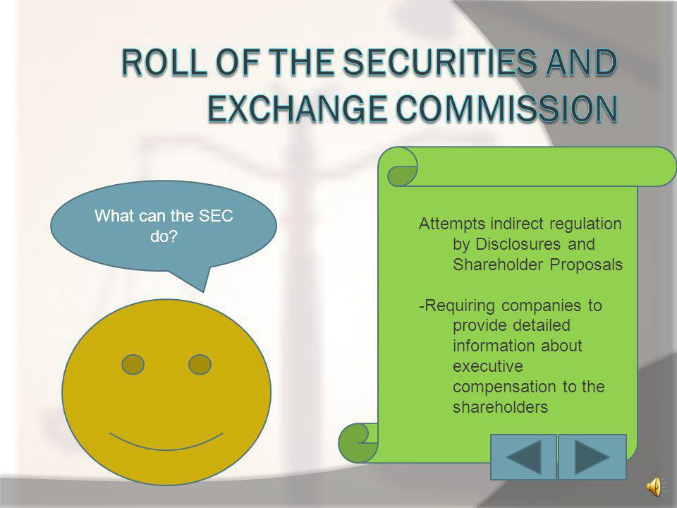 Roll of the securities and exchange commission