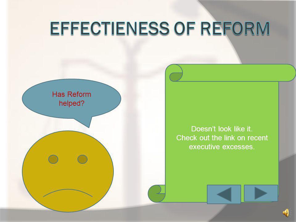 Effectieness of reform