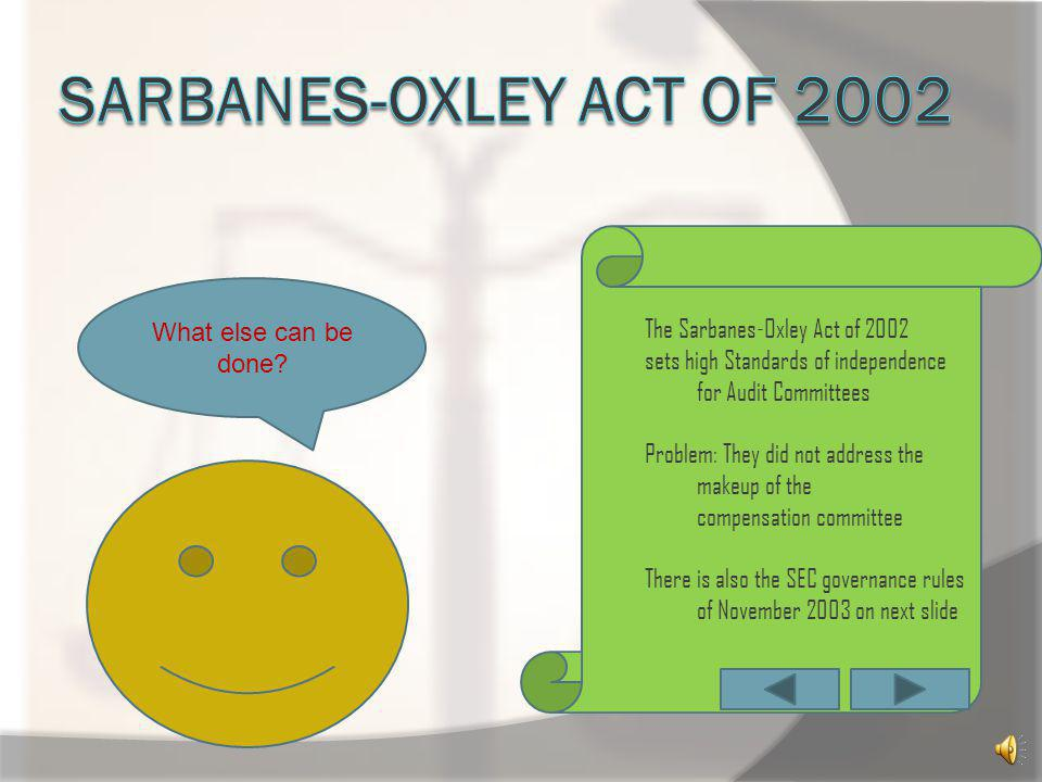Sarbanes-oxley act of 2002 The Sarbanes-Oxley Act of 2002