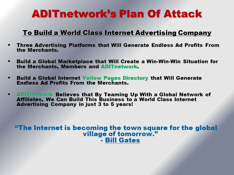 ADITnetwork's Plan Of Attack
