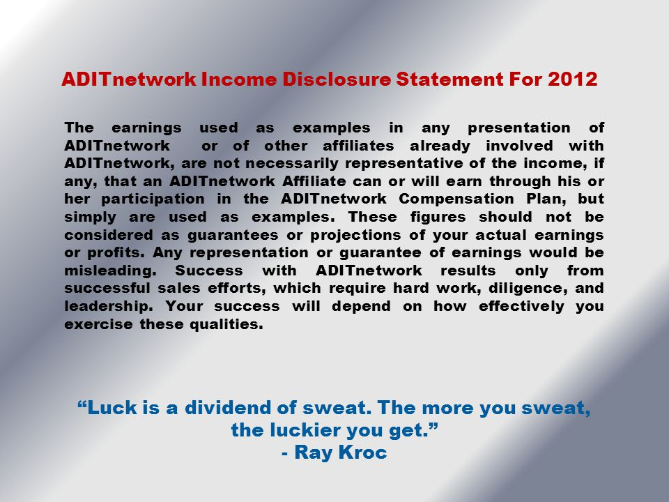ADITnetwork Income Disclosure Statement For 2012