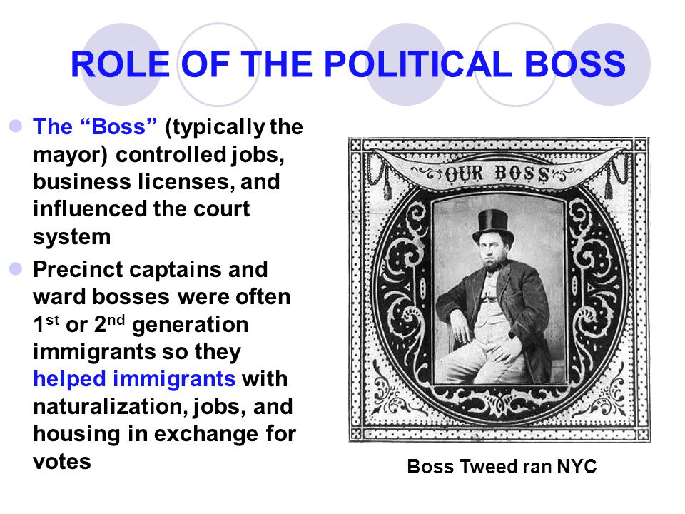ROLE OF THE POLITICAL BOSS