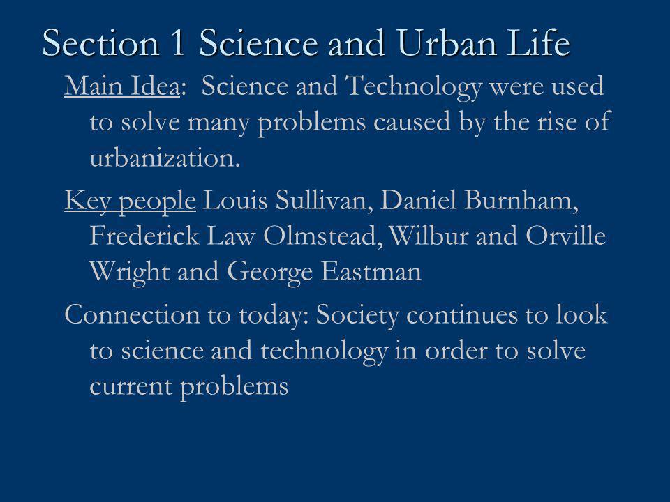 Section 1 Science and Urban Life