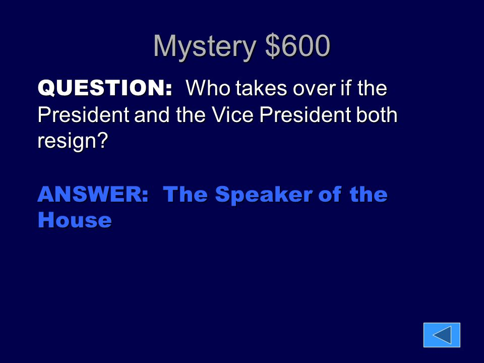 Mystery $600 QUESTION: Who takes over if the President and the Vice President both resign.