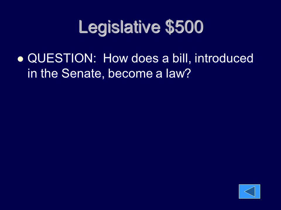 Legislative $500 QUESTION: How does a bill, introduced in the Senate, become a law